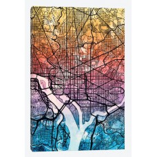 East Urban Home Reverse Blend Urban Street Map Series: Washington, D.C., USA Graphic Art on Wrapped Canvas USSC7319