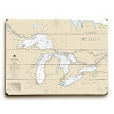 Longshore Tides 'Great Lakes Nautical Chart Sign' Graphic Art Print on Wood GLAN2250