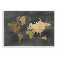 Stupell Industries Black and Gold World Map Stretched 'Graphic Art Print VYH7984
