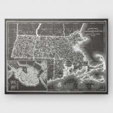 WexfordHome 'Massachusetts Sketch Map' Graphic Art Print on Wrapped Canvas in Gray WEXF2242
