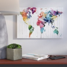 Wrought Studio Wood Watercolor World Map Graphic Art on Wrapped Canvas VKGL4791