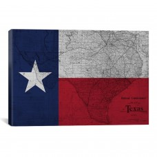 iCanvas Flags Texas Map Graphic Art on Wrapped Canvas IZN3414