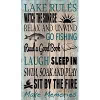 Artistic Reflections 'Lake Rules' by Tonya Gunn Textual Art on Plaque AETI3157