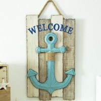 Glitzhome Wooden Nautical Anchor Welcome Wall Décor GLHO1490