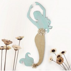 Beachcrest Home Decorative Distressed Mermaid Iron and Linen Burlap Widget Wall Decor SEHO9917