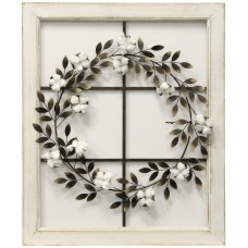 Gracie Oaks Floral Wreath Wood Framed Wall Décor GRCK2126