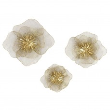 House of Hampton 3 Piece Metal Flowers Wall Décor Set HOHM8577