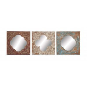 Cole Grey 3 Piece Metal, Wood and Mirror Wall Decor Set COGR5751