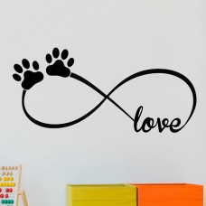 DecaltheWalls Infinity Love Symbol with Pet Paws Vinyl Wall Decal DTWA1142