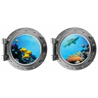 DecaltheWalls Tropical Fish and Shark with Coral Porthole Fabric Wall Decal DTWA1041