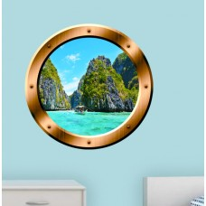 East Urban Home Nature Scene Porthole Ocean Wall Decal ERBO7676