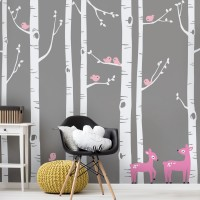 SimpleShapes Birch Tree with Bird and Deer Wall Decal SSHA1005