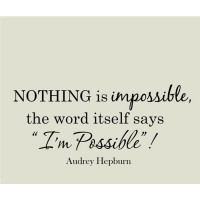 VWAQ Nothing is Impossible Audrey Hepburn Quote Wall Decal VWAQ1243