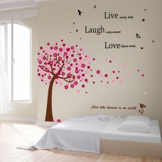 Winston Porter Daryl Huge Pink Tree and Classic Live Laugh Love Wall Decal WNSP2384