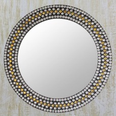 Novica Modern Flair Hand Crafted Studded Round Wall Mirror with Metal Accents NVC5731
