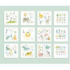"Brewster Home Fashions Animal Alphabet 8' x 118"" 6 Piece Wall Mural Set BZH9275"