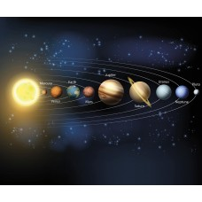 "Brewster Home Fashions Planets 8' x 118"" 6 Piece Wall Mural Set BZH9277"