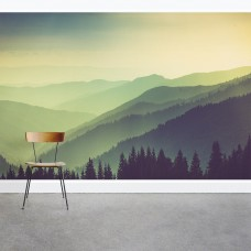 "Wallums Wall Decor Misty Green Mountains 8' x 144"" 3 Piece Wall Mural WWDR1155"