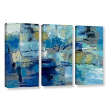 Brayden Studio Ultramarine Waves III 3 Piece Painting Print on Wrapped Canvas Set BRYS2485