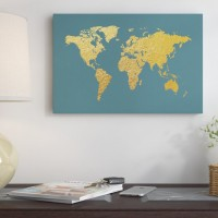 East Urban Home World Map Series: Gold Foil On Ocean Blue Graphic Art on Wrapped Canvas USSC6695