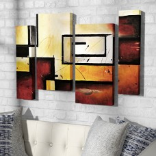 Latitude Run 'Abstract Modern' 4 Piece Painting Print on Wrappped Canvas Set LDER8418