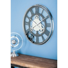 "Cole Grey Oversized Stainless Steel 25"" Wall Clock CLRB3452"