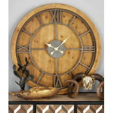"Cole Grey Oversized Wood and Metal 40"" Wall Clock COGR9515"