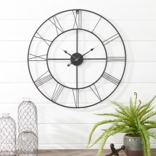"Gracie Oaks Oversized Moser Round Metal 24"" Wall Clock EHQ4304"