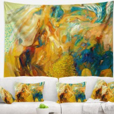 East Urban Home Abstract Yellow Collage Tapestry ERBP0755