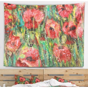 East Urban Home Floral Red Poppies Watercolor Drawing Tapestry and Wall Hanging ERBP2709