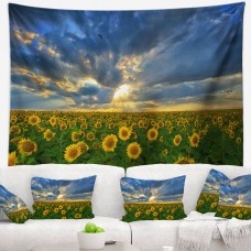 East Urban Home Landscape Beauty Sunset over Sunflowers Tapestry and Wall Hanging ERBP2118