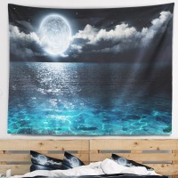 East Urban Home Seascape Romantic Full Moon over Sea Tapestry ERBP5444