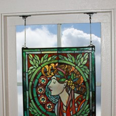 Design Toscano Ruskin Rose Flower Stained Glass Window Panel TXG9351