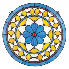 Design Toscano Victorian Blue Flower Stained Glass Window TXG8401