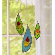 Wind Weather 3-Piece Stained Glass Peacock Window Panel Set XBVN1108