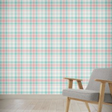 "August Grove Hinton Latte Plaid 4' L x 24"" W Peel and Stick Wallpaper Panel NDN14902"