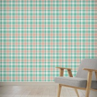 "August Grove Hitchens Plaid 4' L x 24"" W Peel and Stick Wallpaper Panel NDN14915"