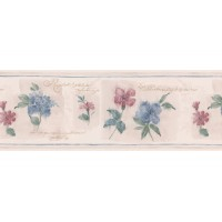 "Brewster Home Fashions 15' x 6.88"" Floral Block Border Wallpaper BZH8010"