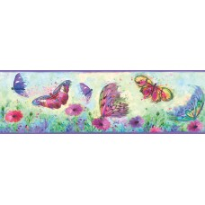 "Brewster Home Fashions Hide and Seek Ava Swoosh 15' x 6"" Butterfly 3D Embossed Border Wallpaper BZH5035"