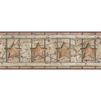 "York Wallcoverings Country Keepsakes Country Cutout Star 15' x 9"" Wood Border Wallpaper DOQ1796"