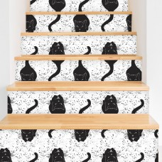 "Walls Need Love Vintage Black Cats Removable 5' x 20"" Wallpaper WANL3321"