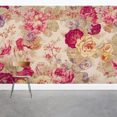 "Wallums Wall Decor Vintage Floral Rose 8' x 144"" 3 Piece Wall Mural WWDR1112"
