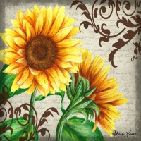 Buy Art For Less Gallery 'A Day in the Garden with Sunflowers' Framed Graphic Art Print on Wrapped Canvas IAGE1815