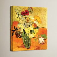 Charlton Home 'Japanese Vase with Roses and Anemones' by Vincent Van Gogh Painting Print on Canvas CHLH2353