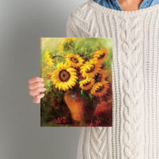 Three Posts Maria's Sunflowers Print Wrapped on Canvas THRE7223