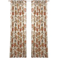 Belle Maison Celine Lined Nature/Floral Semi-Sheer Rod pocket Single Curtain Panel BMI1071