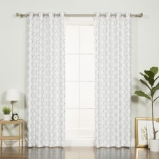 Best Home Fashion, Inc. Faux Silk Quatrefoil Geometric Blackout Thermal Grommet Single Curtain Panel BEHF1433