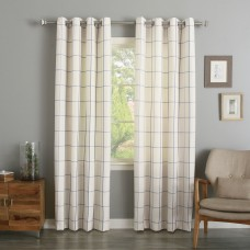 Best Home Fashion, Inc. Grommet Grid Stitched Linen Blend Plaid Check Semi-Sheer Curtain Panels BEHF1092