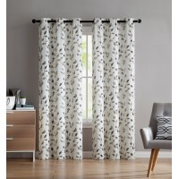 Gracie Oaks Dickerson Nature / Floral Semi-Sheer Grommet Curtain Panels GRKS5695