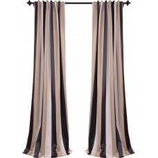 Half Price Drapes Georgetown Striped Blackout Thermal Rod Pocket Single Curtain Panel XKQ1122
